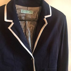 Like new blue blazer with white trimming